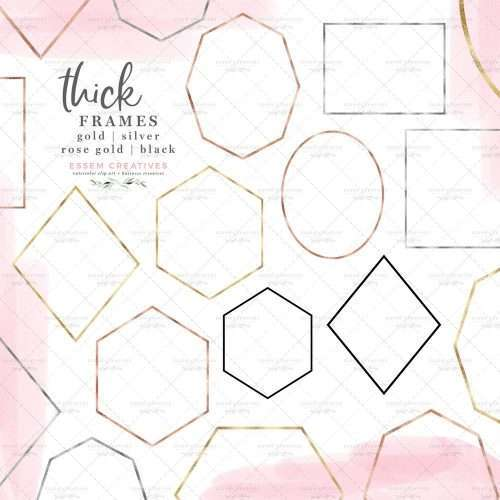 $4.90 instant download | Simple Thick Geometric Empty Frames Shapes Clipart Graphics in Gold Foil Rose Gold Silver and Black | Geometric wedding invitation, logo design, branding inspiration, modern art deco minimal Scandinavian design, gold foil frames clipart, rose gold geometric shapes clipart, card borders, commercial use graphics, planner clipart, digital planning, scrapbooking. Click to see more>> #geometric #commercialuse #graphicdesign #logo