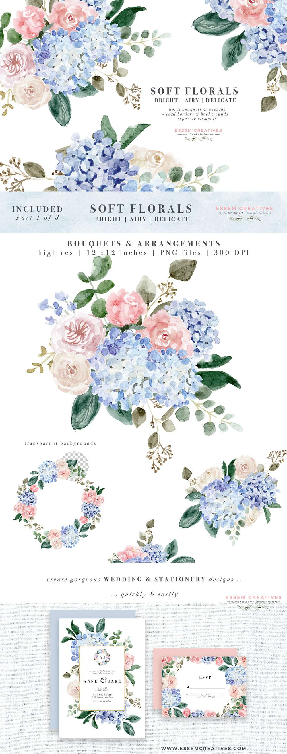 Watercolor flower illustration graphics digital download. Blue watercolor hydrangeas, pink white roses, peonies, leaves, branches in soft airy romantic dreamy spring summer colors for modern floral watercolor wedding invitations & save the date, boy birthday party baby shower, bridesmaid proposal, bridal shower decor, welcome signs, table numbers, logos blog branding. Get bouquets bunches, borders and backgrounds, floral frames, separate flowers #illustration #watercolor #weddinginvitations