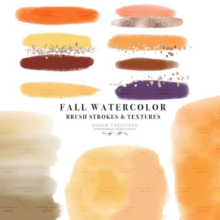 $7.90 Instant Digital Download: FALL WATERCOLOR is a set of watercolor paint brush strokes, textures and confetti glitter labels clipart graphics as PNG files in fall colors. Perfect for thanksgiving halloween holiday designs such as DIY graphic design creations for planner stickers, bullet journal, digital planning, blog, branding, logo design, website blog branding, web elements, instagram story. Orange Yellow Red Burgundy Rust. Click to see more>> #digitalplanning #fall #plannerstickers