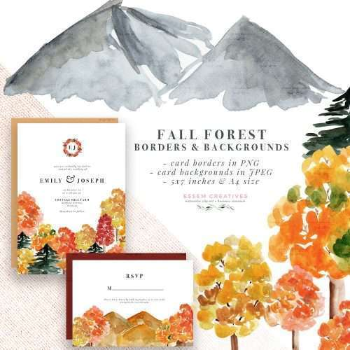 $7.90 Instant Digital Download: Rustic Fall Forest Watercolor Backgrounds, FALL FOREST CARDS is a set of rustic fall forest watercolor background graphics & illustrations available as an instant digital download. Watercolor tree backgrounds in autumn fall colors like yellow, orange, burgundy, rust, with specks of green, Watercolor Wedding Invitations, Printable Rustic Autumn Fall Vermont Mountain Invites & Save the Dates. Click to see more>> #fallwedding #woodland #vermont