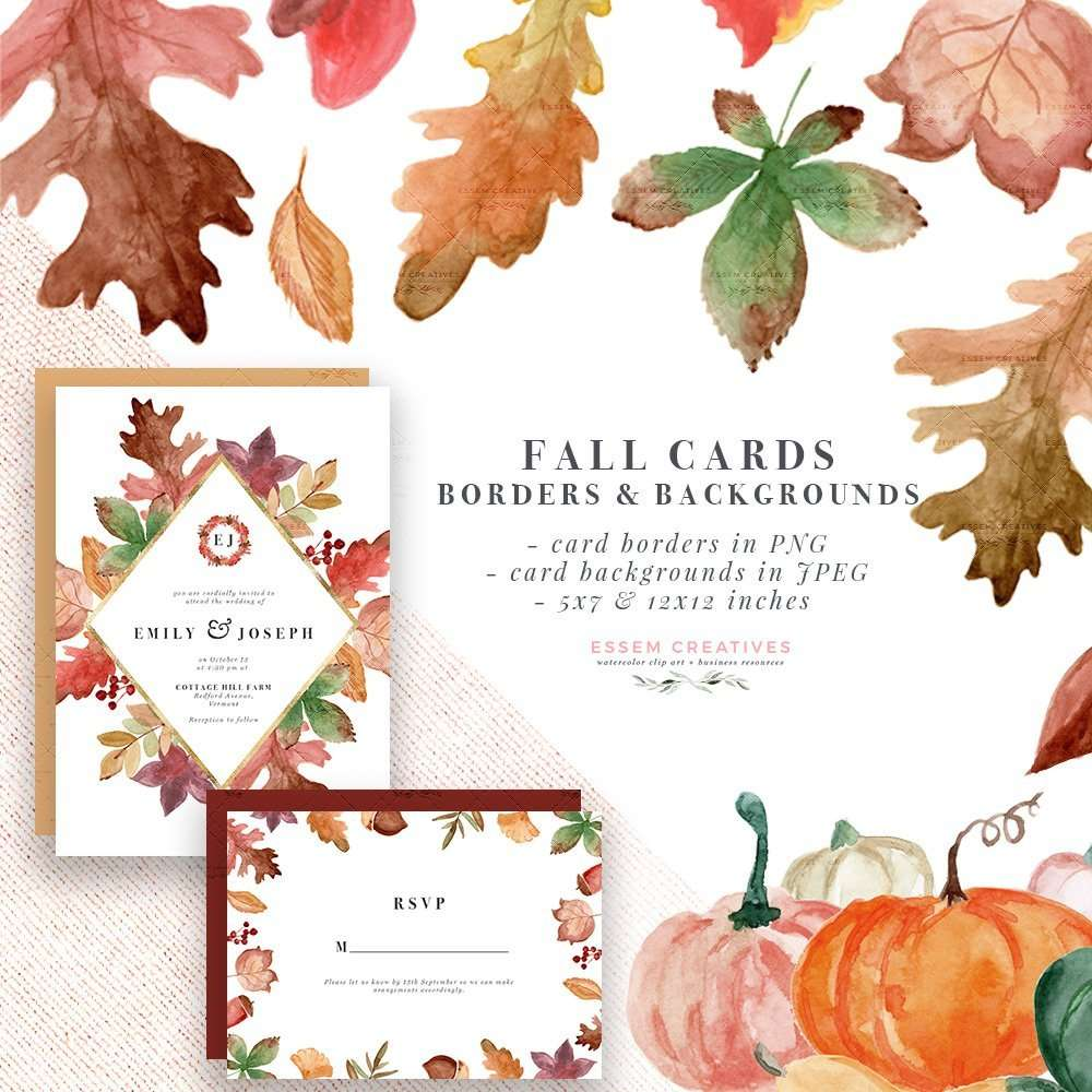 Rustic Fall Watercolor Card Borders With Transparent Backgrounds Burgundy Orange Thanksgiving Wedding Bridal Shower Invitation Template