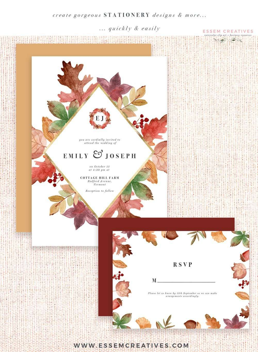 rustic fall watercolor card borders with transparent backgrounds  burgundy orange thanksgiving