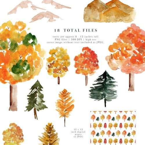 $7.90 Instant Digital Download: Rustic Fall Forest Watercolor Backgrounds, Geometric Gold Wedding Invitation Clipart, Conifers Fall Foliage Pine Trees Mountains Hills Woodland Graphics, Watercolor Wedding Invitations, Printable Rustic Autumn Fall Vermont Mountain Invites & Save the Dates. Click to see more>> #fallwedding #woodland #vermont