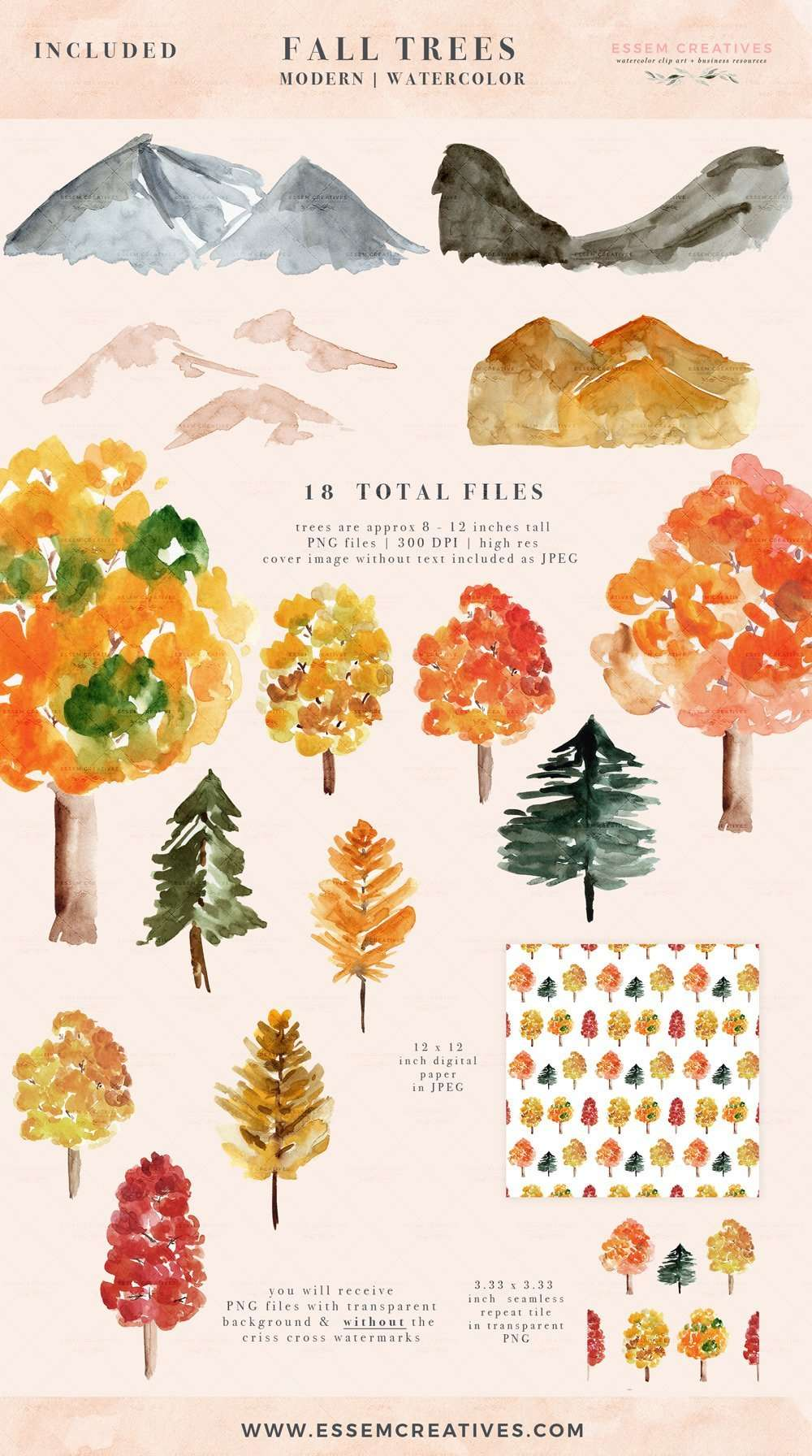 Rustic Watercolor Rustic Fall Trees Woodland Forest Foliage