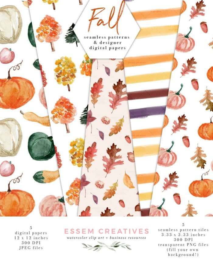 $6.90 Instant Digital Download: FALL PATTERNS is a set of whimsical & rustic watercolor fall patterns and seamless patterns available as an instant digital download. Included in the pack are cute and modern fall patterns which are perfect for scrapbooking, digital planning, planner stickers, invitation cards, social media posts and more. The patterns feature fall leaves & pumpkins. Click to see more>> #fall #watercolorborder #fallwedding