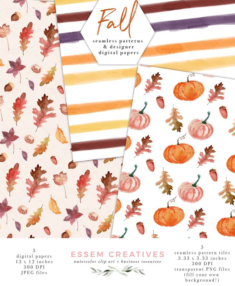 Watercolor Fall Digital Papers Seamless Repeat Pattern Tiles With Fall Leaves Pumpkins Scrapbooking Planner Stickers Essem Creatives Watercolor Clipart Business Branding