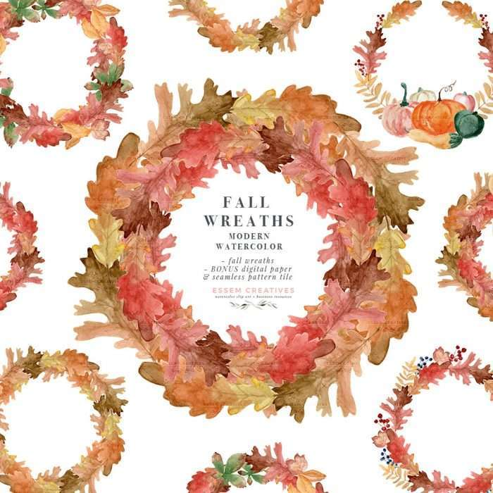 $7.90 Instant Digital Download: Watercolor fall leaf wreath clipart, Autumn leaves foliage Watercolor Graphics Illustrations, Fall Wedding Bridal Shower Birthday Party Baby Shower Thanksgiving Halloween invitation cards decor 2019 2020 2021, Leaf digital paper & seamless pattern with transparent background PNG, Planner stickers dashboard. Pumpkins, Squash, Oak, Tulip poplar, Beech, Gingko, Chestnut, Hawthorn, Maple, Sycamore. Click to see more>> #fall #watercolorwreath #fallwedding