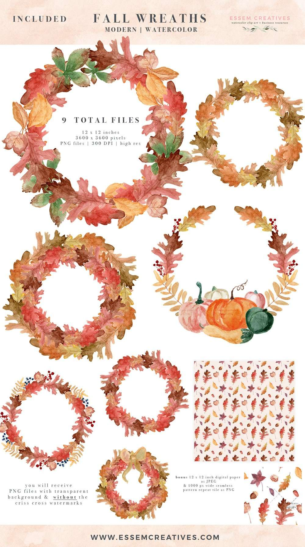 watercolor fall leaf wreaths clipart  thanksgiving fall