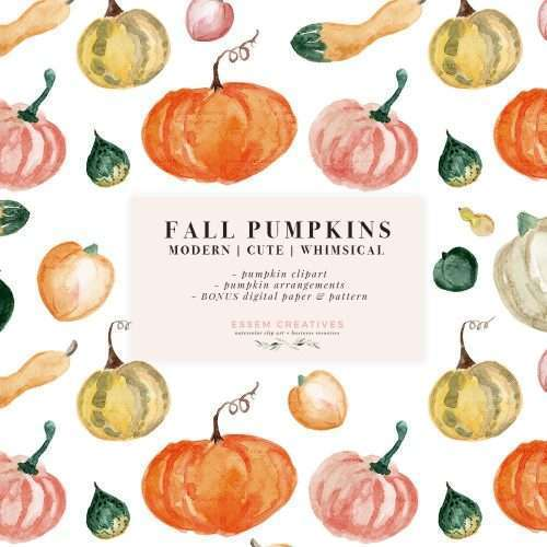 $7.90 Instant Digital Download: Watercolor pumpkins clipart, Fall Watercolor Graphics Illustrations, Cute and modern Pumpkin vegetables, Autumn Harvest Graphics, Thanksgiving decor and dinner invitation card, Halloween Party invite and decor, Fall Wedding invitations 2019 2020 2021, Hand drawn Pumpkins with transparent background PNG files, Digital Paper & Seamless Repeat Pattern Tile, Orange Green Pink Yellow Green Squash, Planner stickers accessories. Click to see more>> #fall #thanksgiving