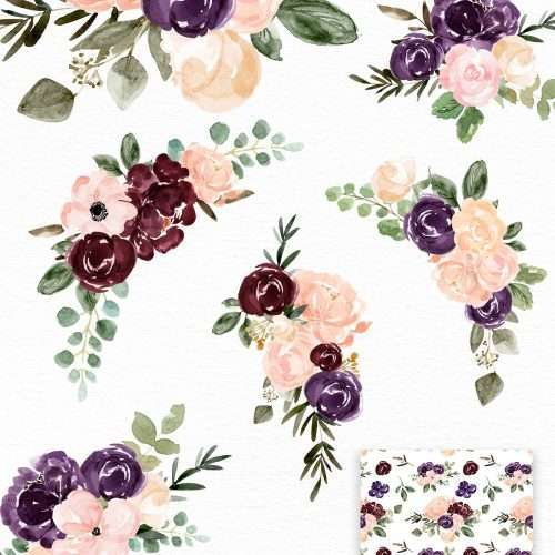 $7.90 Instant Download | Burgundy Plum Floral Watercolor Clipart, Blush Burgundy Watercolor Flowers, Rustic Boho Winter Fall Floral Wedding Invitation | Floral Watercolor Wedding Invitation Template 2019 2020 2021, Wedding Decor Inspiration Ideas, Save the Date Invites, Bridal Shower, Baby Shower, Birthday Party, Planner Stickers, Floral Digital Paper, Scrapbooking, Fabric, Photography Backdrop, Flower logo & brand website blog design. Click to see more>> #fallwedding #winterwedding #burgundy