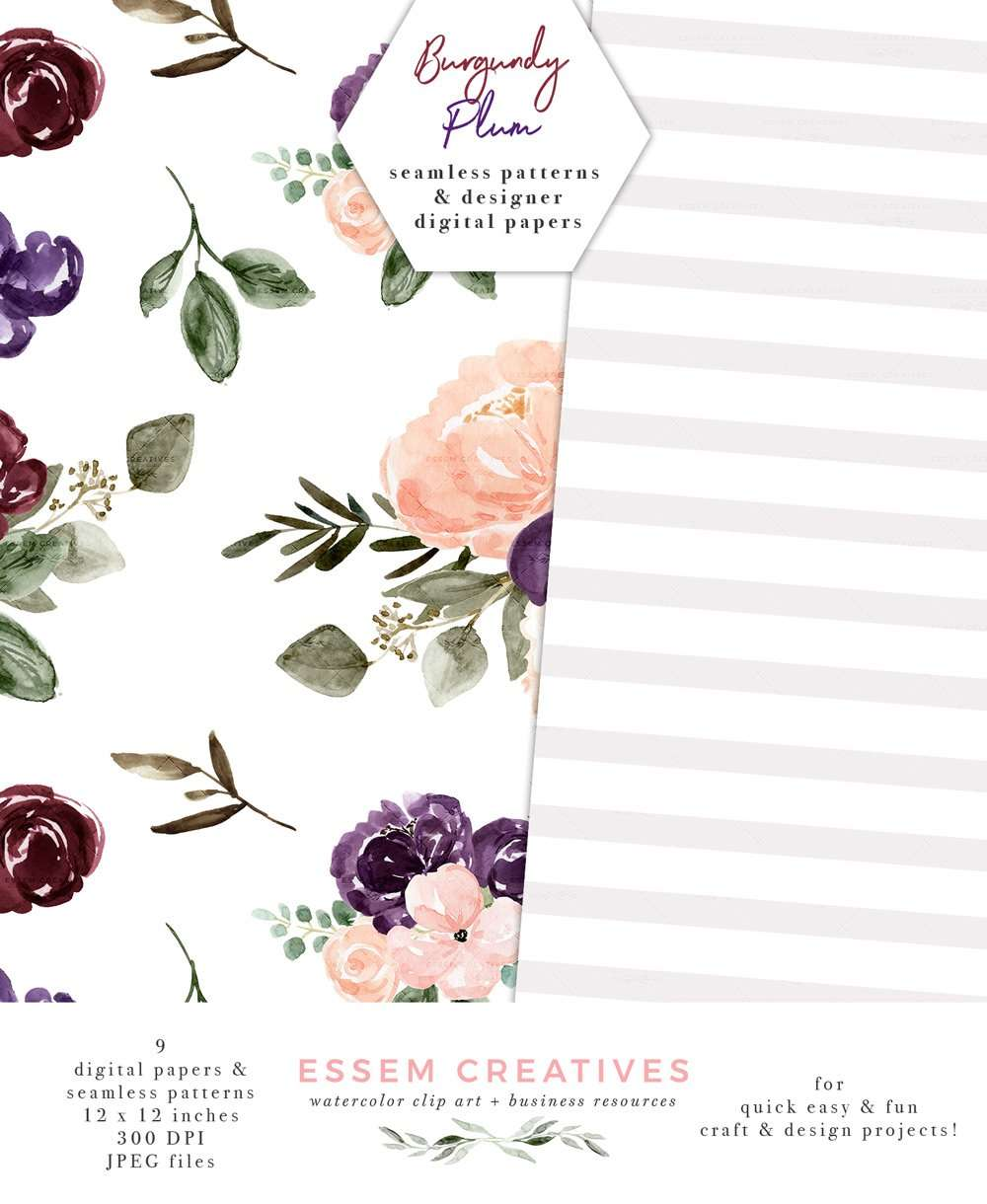 Floral Digital Paper Burgundy Blush Watercolor Fall Scrapbooking Paper Seamless Repeat Patterns Essem Creatives Watercolor Clipart Business Branding