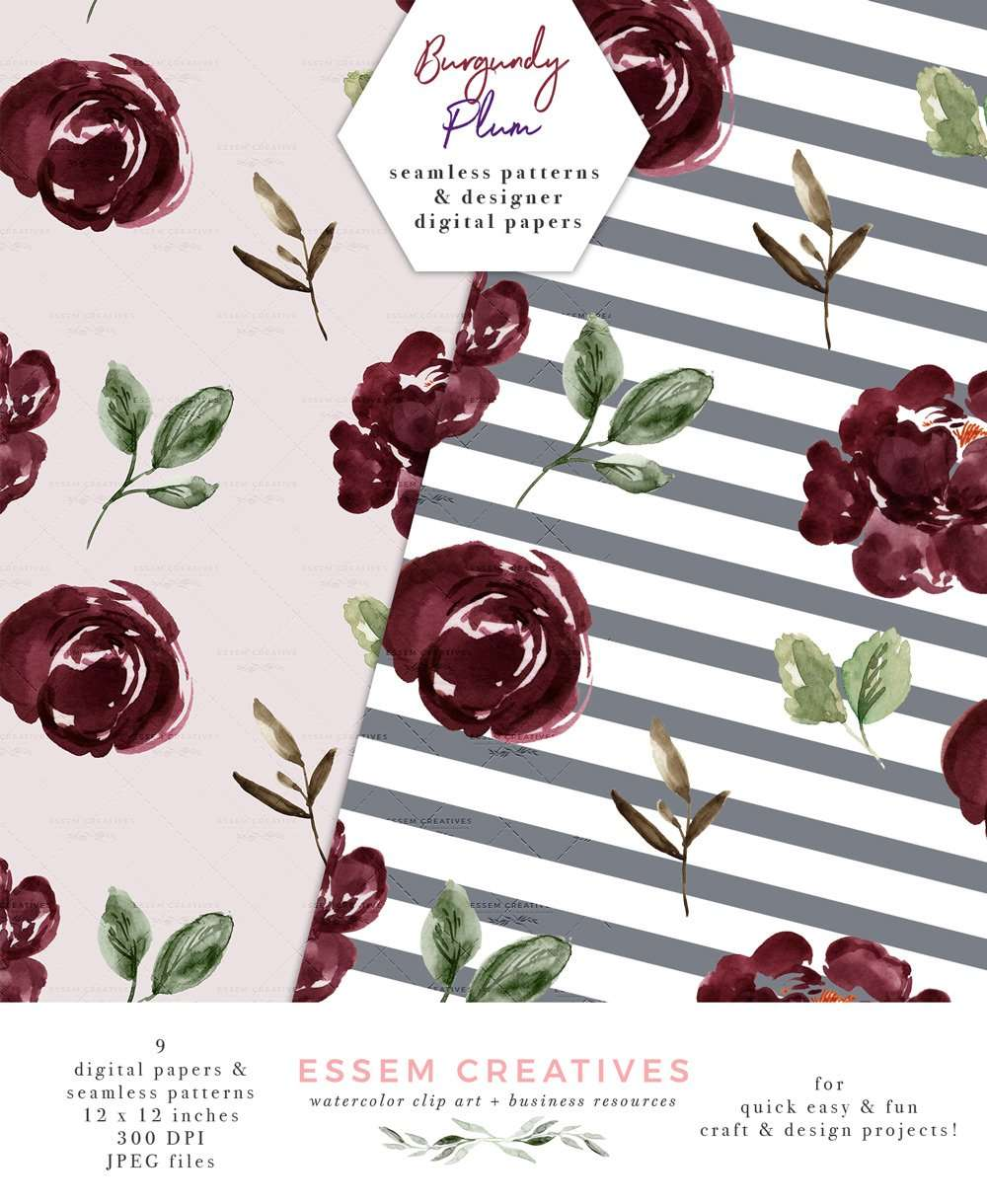 Floral Digital Paper, Burgundy Blush Watercolor Fall