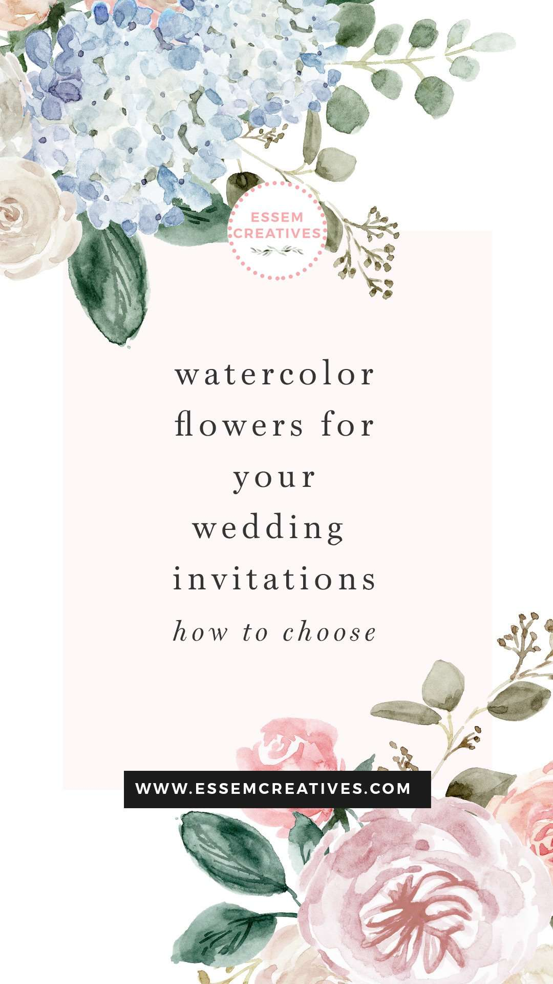Are you looking for pretty and modern watercolor flowers & florals for your wedding invitations? You're at the right place! Are you possibly planning to make your invitations all by yourself (DIY)? It's a wonderful idea to make DIY watercolor wedding invitations, and with a little guidance from me, you'll be well on your way to having the perfect personalised, unique stationery for your big day. Click to see more>> #weddinginvitations #DIYwedding #watercolorflowers #watercolorinvitations