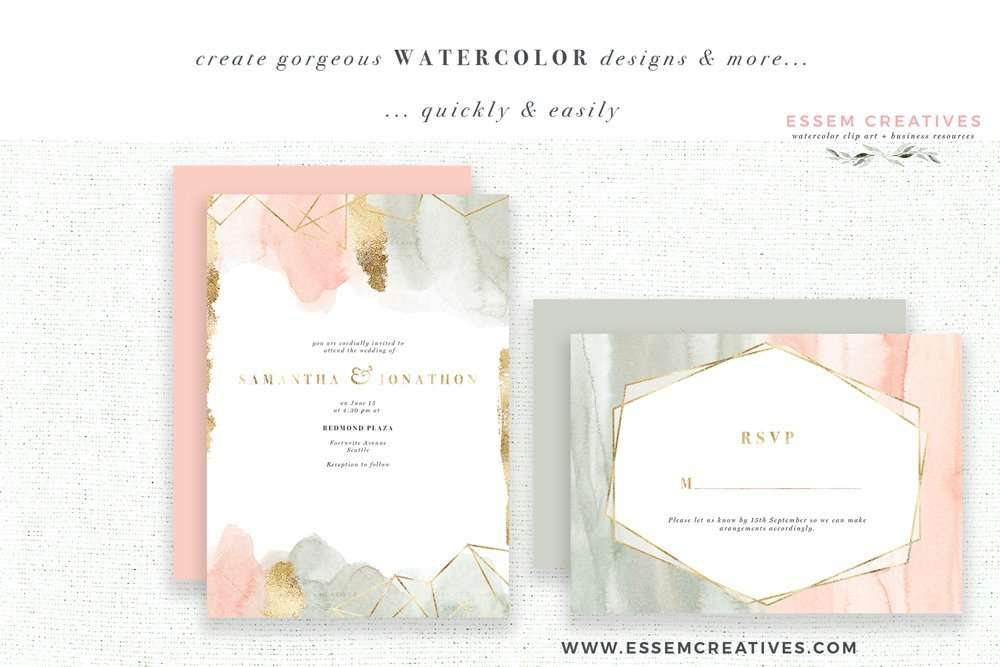 $9.50 Instant Download | Watercolor Wedding Invitation, Blush Pink & Sage Green Abstract Watercolor Clipart & Backgrounds with Gold Veins Geometric | Watercolor Wedding Invitation Template 2019 2020 2021, Digital Planner Stickers Post Its, Decor Inspiration Ideas, Save the Date Invites, Bridal Shower, Baby Shower, Birthday Party, Planner Stickers, Scrapbooking, Fabric, Photography Backdrop, Logo & Website design. Click to see more>> #watercolorinvitations #weddinginvitations