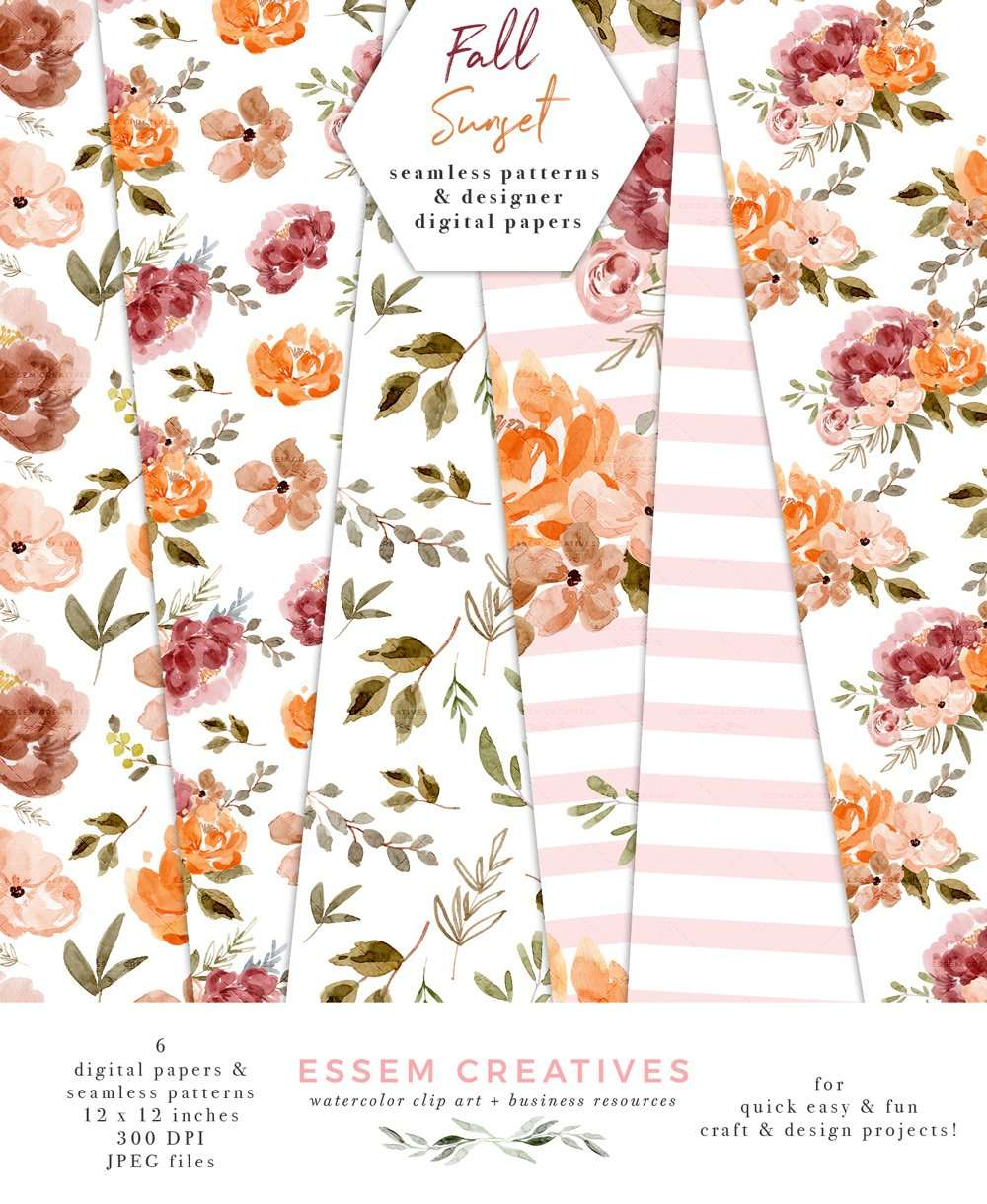 Fall Floral Digital Papers Dusty Orange Rust Flower Patterns