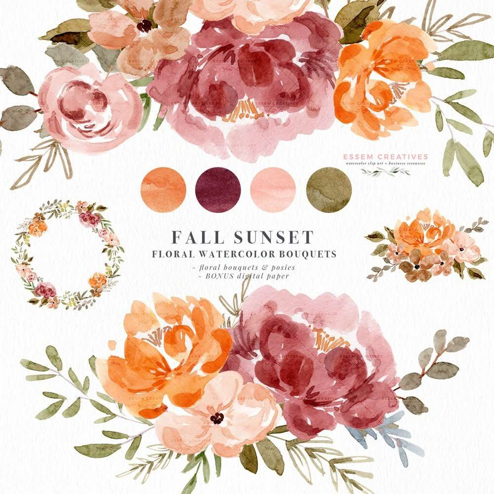 Fall Floral Watercolor Clipart Graphics Illustrations | Dusty Orange Sunset Orange Fall Wedding Flowers | Watercolor Flowers Foliage Greenery Clip Art | Floral Wedding Invitation Template 2019 2020 2021, Fall Wedding Ideas, Digital Planner Stickers Post Its, Decor Inspiration Ideas, Save the Date Invites, Bridal Shower, Baby Shower, Birthday Party, Planner Stickers, Scrapbooking, Fabric, Photography Backdrop, Logo & Website design. Click to see more>> #watercolorclipart #weddinginvitations