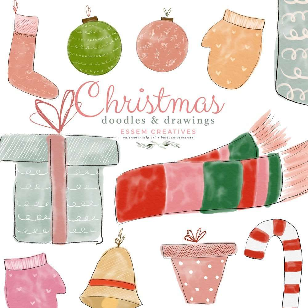 Christmas Doodles Drawings Clipart, Holiday Winter Graphics, Gift Boxes Christmas Tree Ornaments Stockings Scarves Mittens | Use these images to create holiday designs like gift tags, greeting cards, Christmas invitations, Kids Birthday Party invitations, School documents & posters, quirky winter wedding invites, holiday cards and Christmas cards for your family or your business and more. Click to see more>> #christmasdoodles #christmasclipart #winter