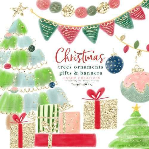 Christmas Tree Clipart, Tree Decorations Ornaments Gifts Buntings, Sublimation Design Transfer PNG | Use these images to create holiday designs like gift tags, greeting cards, Christmas invitations, Kids Birthday Party invitations, Christmas T-shirts coffee mugs tumblers phone cases, School documents & posters, quirky winter wedding invites, holiday cards and Christmas cards for your family or your business and more. Click to see more>> #christmas #christmasclipart #winter