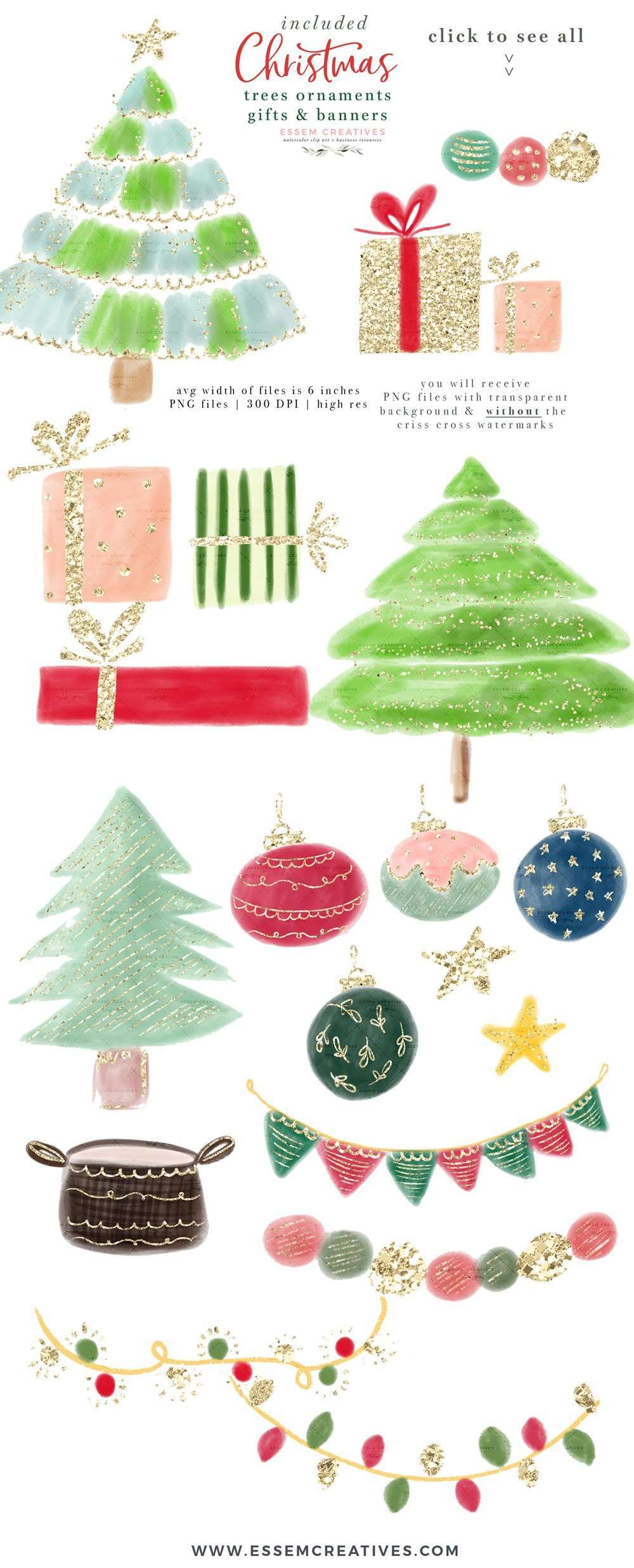 Christmas Tree Clipart Tree Decorations Ornaments Gifts Buntings Sublimation Design Transfer Png Essem Creatives Watercolor Clipart Business