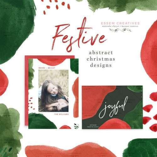 Festive Abstract Christmas Card Templates Clipart Borders Graphics | Modern abstract watercolor christmas card templates, borders and clipart graphics in holiday colors of green and red. Brush strokes, splashes, and marks which are perfect for layering.Create holiday designs like holiday cards, Christmas cards, gift tags, greeting cards, Christmas invitations, winter wedding invites, gift labels, wrapping paper, invitations, scrapbooking. Click to see more>> #christmas2019 #christmas #holidays
