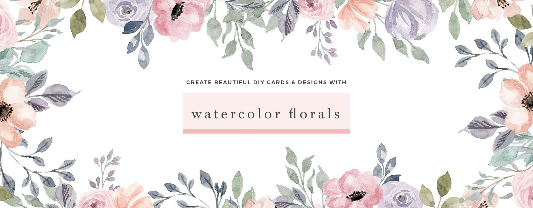 Watercolor Flowers Clipart for wedding invitations logos branding birthday party invites DIY stationery