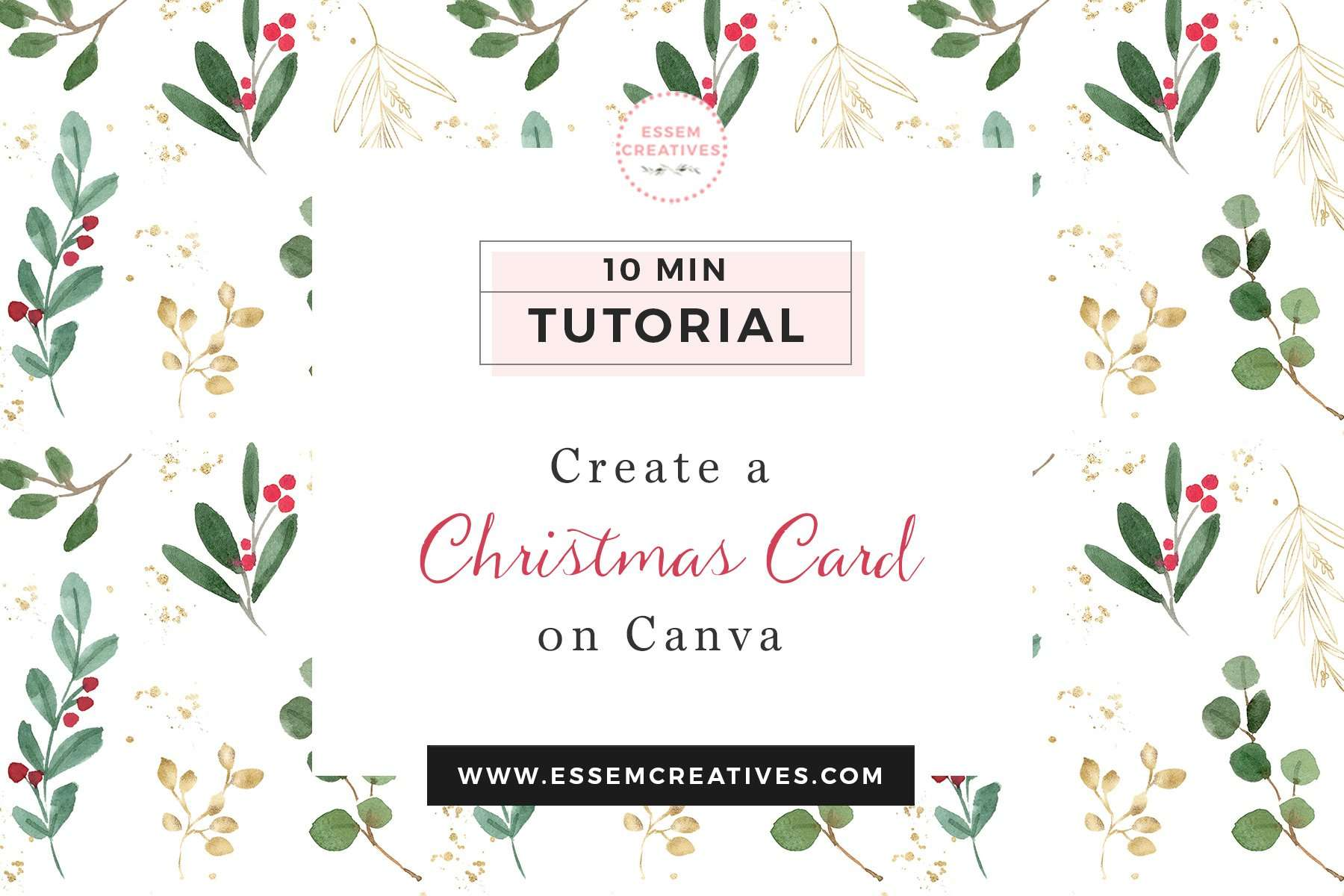 Create A Christmas Card With Photo Online For Free Essem Creatives Watercolor Clipart Business Branding
