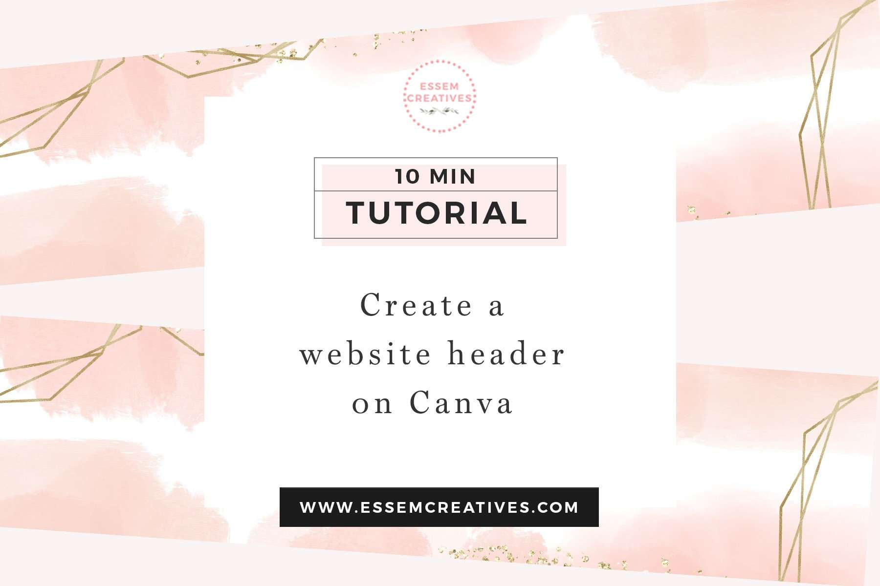 Make a Watercolor and Gold Blog Website Header on Canva