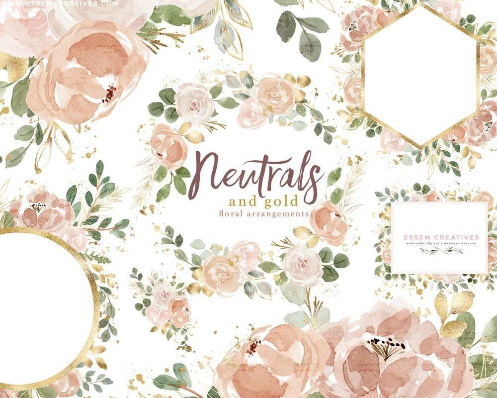 Neutrals with Gold Watercolor Floral Borders Wreath Frames Bouquet Clipart Graphics with Transparent Background | Use these design illustrations to create floral watercolour wedding invitations, save the date, gift tags, greeting cards, bridal shower invites, Kids Birthday Party invitations, menu card, table numbers, School documents & posters, spring summer flyers, logo branding stationery, for your family or business and more. Click to see more>> #watercolor #weddinginvitations