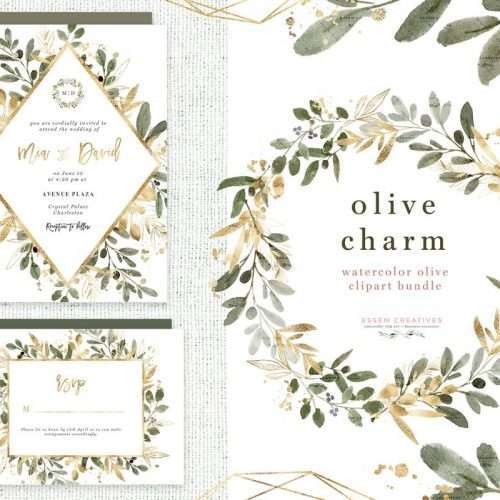 Watercolor Olive Branch Clipart, Olive Leaves Leaf Clip Art, Green Gold Wreath Border Geometric Frame PNG, Olive Charm