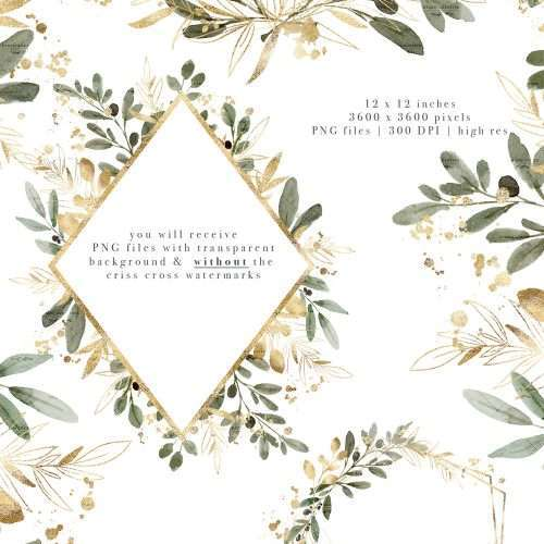 Watercolor Olive Leaf Wreath Gold Geometric Frames Clipart with Transparent Background, Olive Charm | Watercolor Wedding Invitations 2020 2021 2022 | Perfect for rustic, vintage watercolor wedding invitations, bridal shower party, gender neutral baby shower invites, Save the Date cards, birthday party, menu, table numbers, welcome sign, logo branding packaging, gift tags, greeting cards, planner stickers for commercial use. Click to see more>> #weddinginvitations