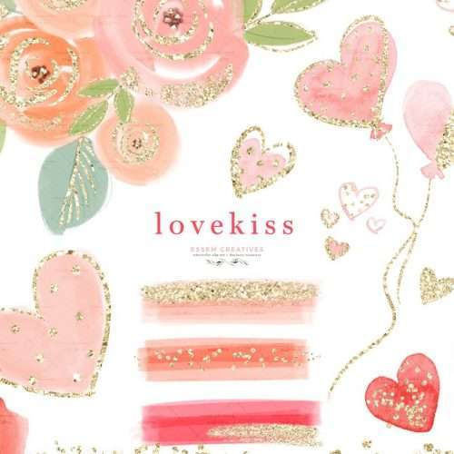 LOVEKISS is a set of hearts love & Valentine's Day clipart set. These hand drawn cute pink florals, hearts, heart balloons, brush strokes, labels and gold confetti in foft pastel colors of pink, red and purple. Make save the date cards, wedding invitations, photography marketing material, feminine logo and blog brand, birthday party, bridal shower invitations, valentines and galentines day cards, planner stickers, planner dashboard decor, wall art prints, school kids crafts #valentinesday