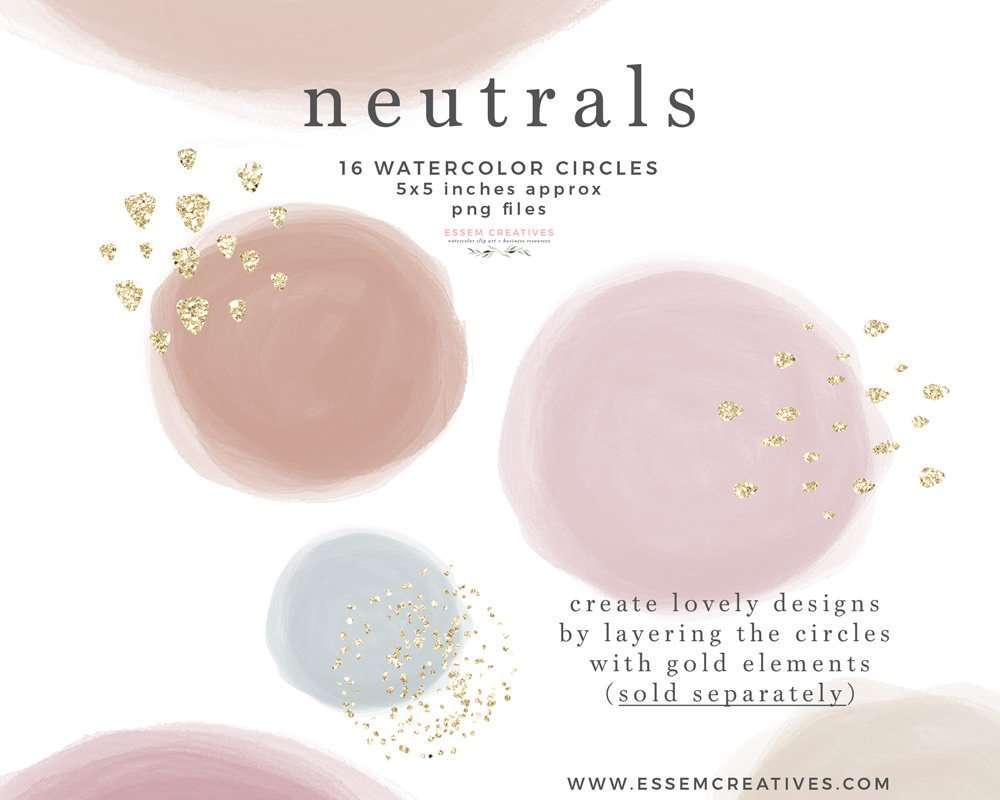 NEUTRALS Watercolor Circles Shapes Clipart Graphics Instagram Story Highlight Instant Download Commercial Use | These are perfect for creating watercolor labels, bullet journal, save the date cards, wedding invitations, photography marketing material, feminine logo and blog brand, birthday party, baby bridal shower, valentines day, planner stickers, planner dashboard decor, wall art prints. #watercolor #watercolortexture #invitations #planner #digitalplanner #plannerstickers #instagramhighlight