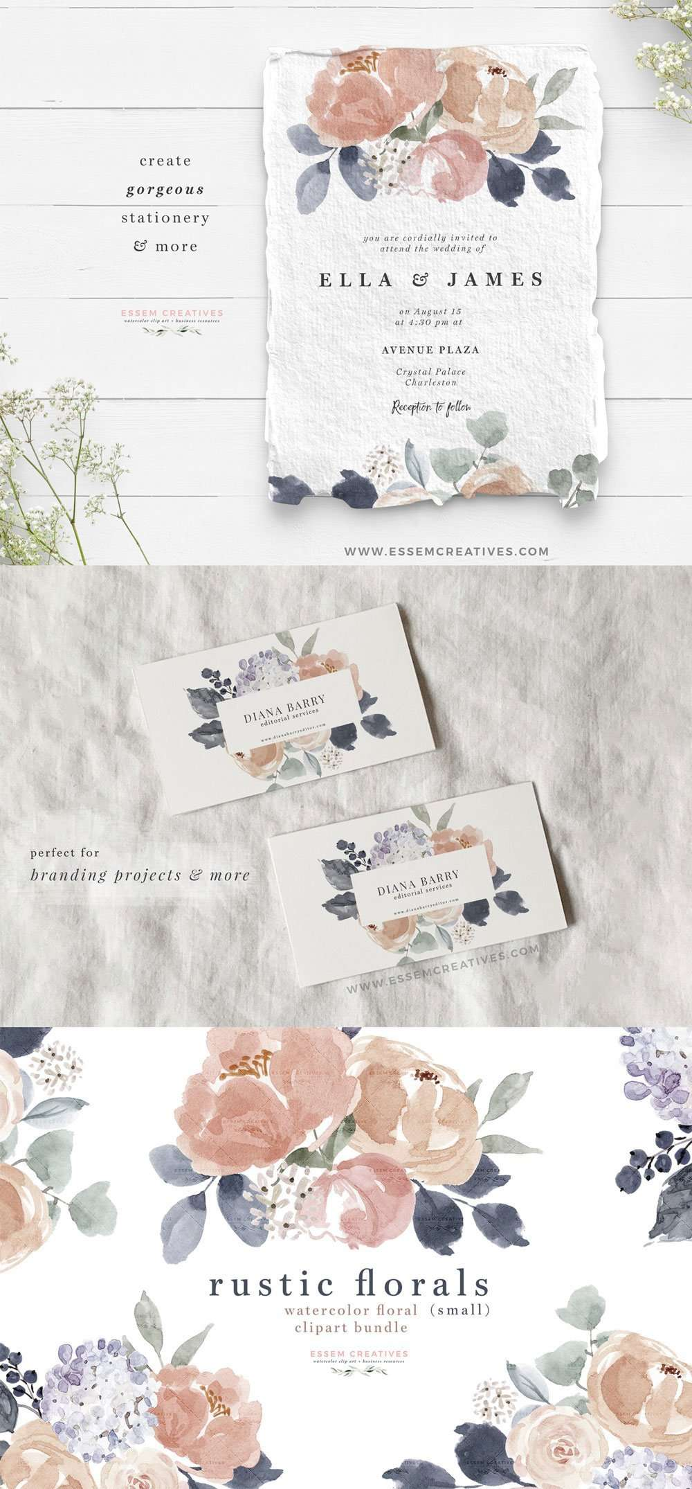 Rustic Watercolor Flowers Clipart, Floral Borders Frames, Dusty Rose Blush Navy Wedding Invitation Graphics Commercial Use | Use these design illustrations to create floral watercolour wedding invitations, save the date, gift tags, greeting cards, bridal shower invites, Kids Birthday Party invitations, menu card, table numbers, School posters, spring summer flyers, logo branding stationery, for your family or business and more. Click to see more>> #watercolor #weddinginvitations #scrapbooking