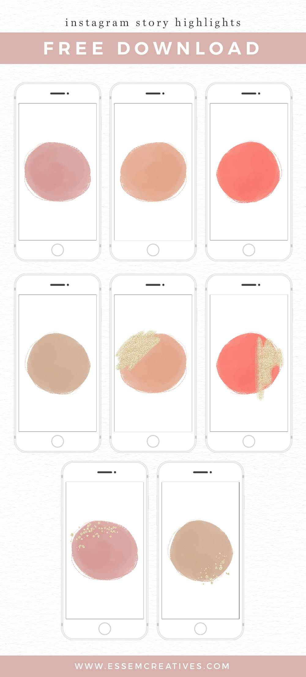 Free Instagram Story Highlight Covers Pack Download - Neutral Watercolors | Instagram Branding kit, Instagram Story Highlights, Instagram Neutral Blush Branding Kit | Use these free Insta highlight covers to add a touch of sophisticated whimsy to your Instagram account. Click to get it>>