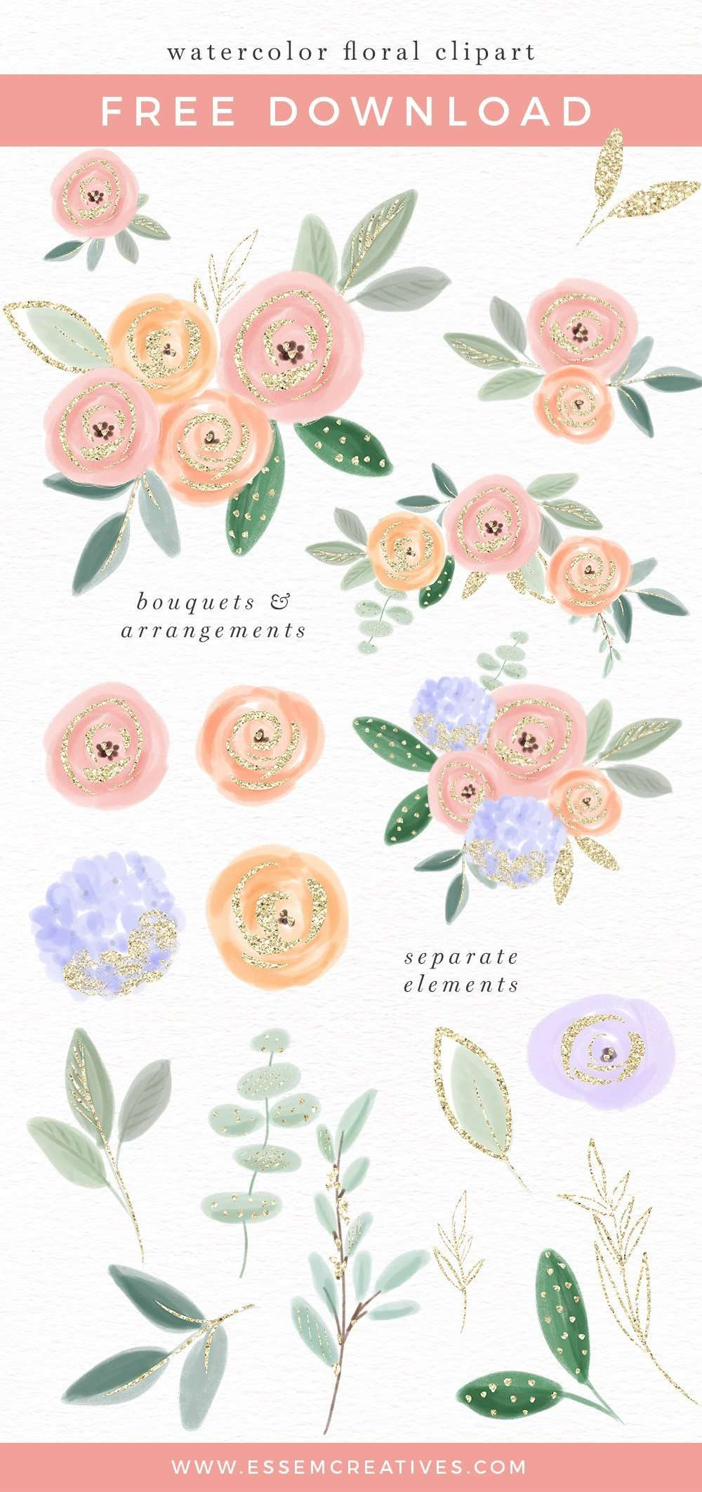 Free Watercolor Flowers Clipart, Floral Bouquets Borders Backgrounds with transparent background | Use these free digital resources for your next DIY art & crafts project | Use to make birthday party invitations, wedding invites, printable wall art & home decor, logo for your blog or etsy shop, a banner for your website & more. Click to get it>>