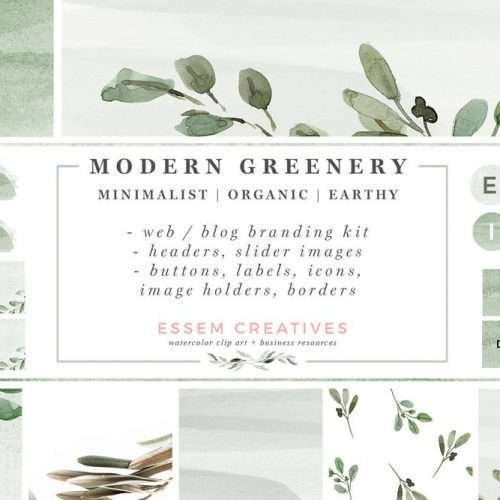 Greenery Watercolor Website Blog Branding Kit, Olive Herbal Minimal Theme, Blogger Squarespace Wordpress Design, Blog Headers Social Media Icons | Modern Foliage Web Blog Branding Kit | Minimalist Watercolor Blog Design & Branding | Neutral Wordpress Theme Elements | Feminine Greenery Olive Eucalyptus Herbal Natural Graphics | Bright and Airy Website Headers | Social Media Icons, Buttons, Banners, Labels & More | Click through to check out this gorgeous kit >>