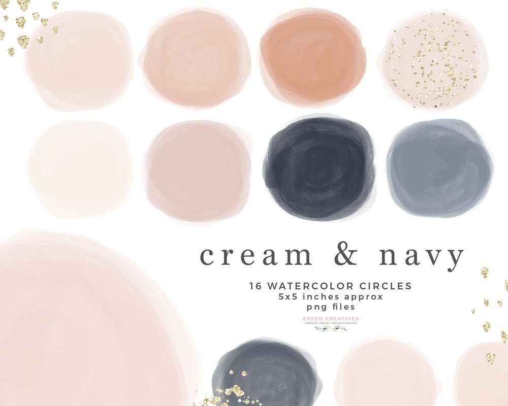 Instagram Story Highlight Covers Blush Cream and Navy Blue Watercolor Circles Shapes Clipart Graphics Instant Download Commercial Use | Digital Planner Stickers, Modern Abstract Watercolor Art - Click to see more>> #instagramstory