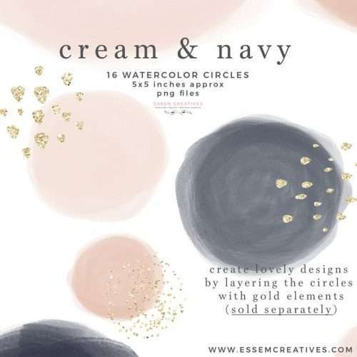 Instagram Story Highlight Covers Blush Cream and Navy Blue Watercolor Circles Shapes Clipart Graphics Instant Download Commercial Use | digital planner stickers - planner graphics - watercolor blobs - modern watercolor circles - sublimation cricut silhouette png graphics - click to see more>> #watercolor
