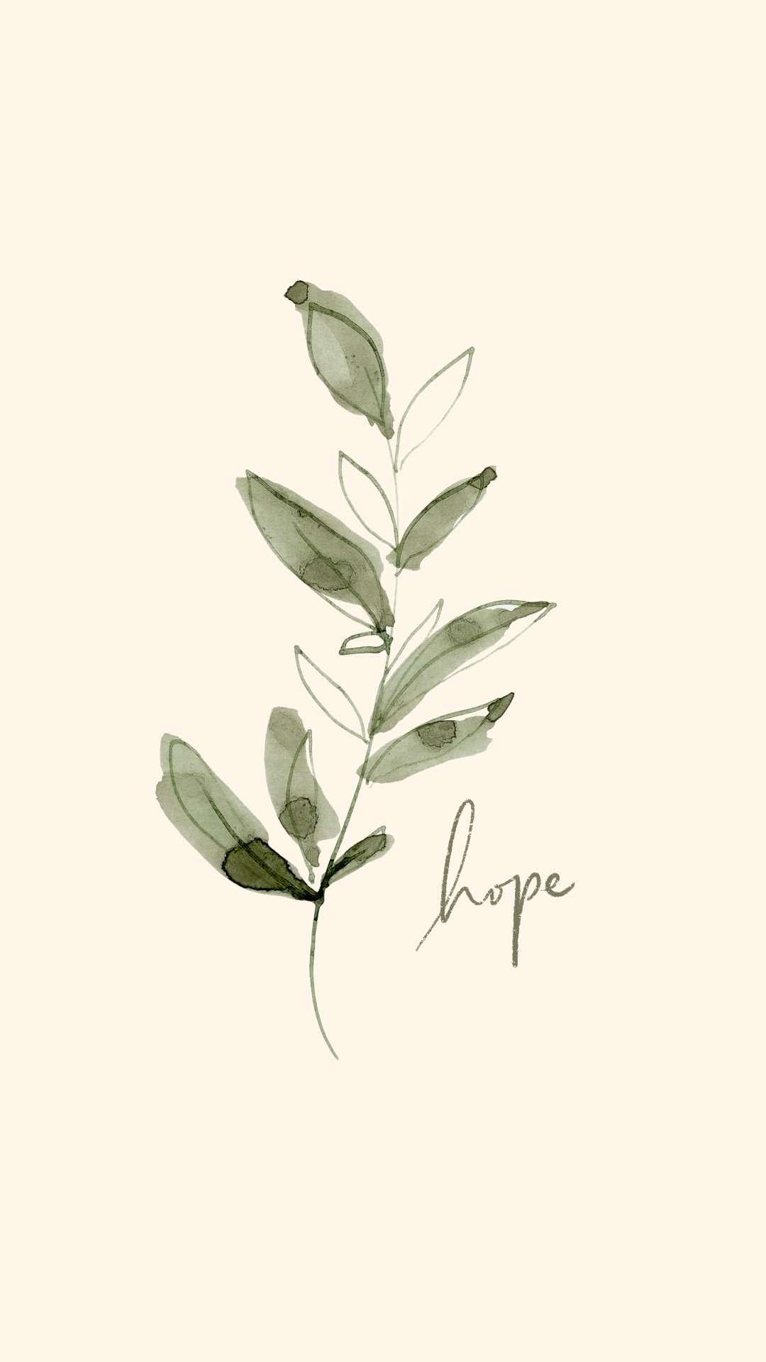 Watercolor Botanical iPhone Wallpaper, Free Mobile Screensaver Lockscreen, Watercolor Greenery Artwork Hope Motivation Inspirational Quote from Essem Creatives
