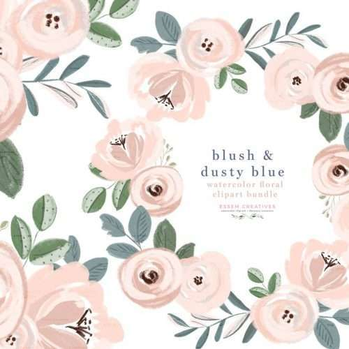 Watercolor flowers clipart - blush and dusty blue flowers floral graphics clip art - wedding invitations - save the date - rustic vintage acrylic gouache hand painted graphics - floral wreath clipart - flower border corner for cardmaking - click to see more>> #watercolorflowers