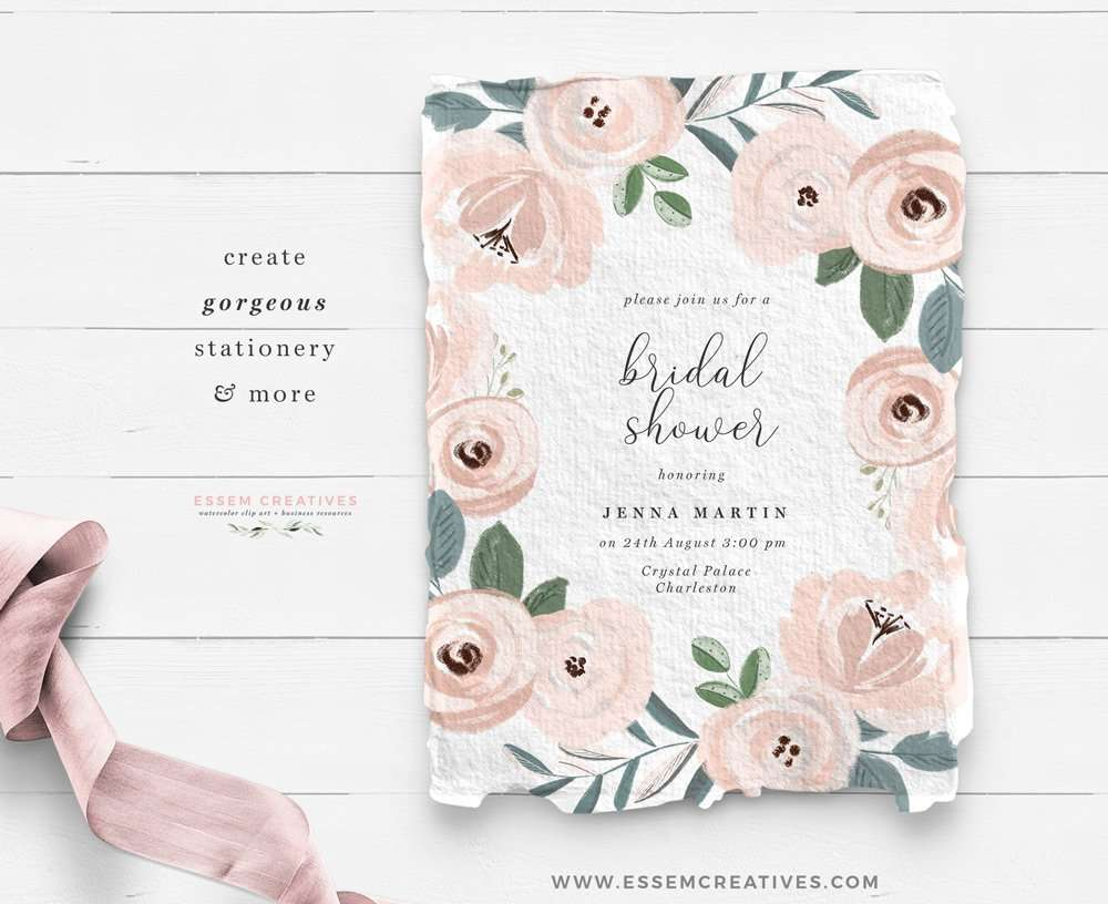 floral watercolor bridal shower invitation card - wedding invitations 2021 2022 2023 - dusty blue wedding details - romantic bridal shower on a budget - DIY stationery graphics and clipart for personal and commercial use - click to see more>>