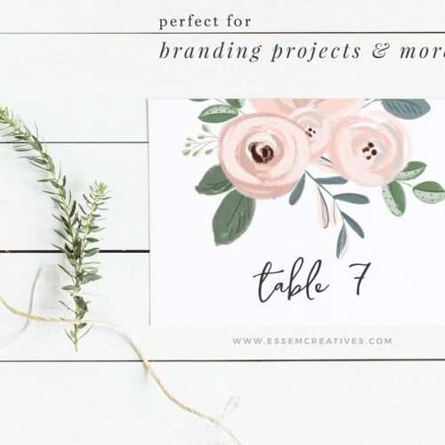 floral business card template ideas - pink and dusty blue logo branding design - logo inspiration - table number - menu card design - DIY wedding on a budget - planner sticker resources - digital planning - clipart for commercial use - click to see more>> #tablenumber