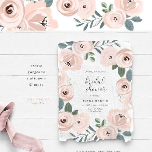 dusty blue and blush pink watercolor flowers clipart - pink floral wreath - flower border corner clipart - wedding flower graphics - invitation card - save the date - child nursery wall decor ideas - baby shower - girl birthday party - planner graphics - sublimation cricut graphics png files - click to see more>> #watercolorflowers