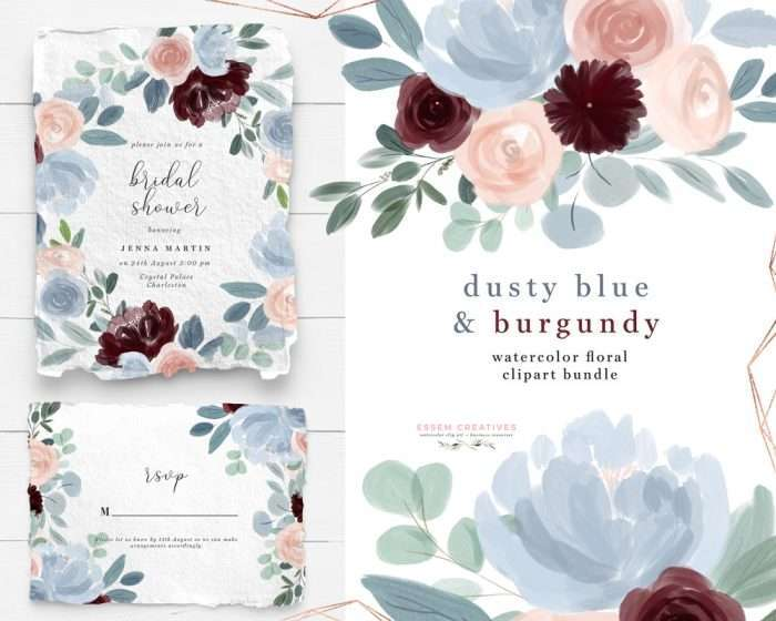 Watercolor Flowers Clipart, Dusty Blue Burgundy Fall Floral Watercolor Graphics for Wedding Invitations Planner Stickers - Commercial Use | NEW Illustrations for fall floral dusty blue Burgundy Blush Pink wedding invitations, save the date, tag label, greeting cards, bridal shower, neutral baby shower, Birthday Party invites, menu, table numbers, posters, flyers, logo blog brand stationery, planner stickers, scrapbook, sublimation prints, nursery wall art. Click to see more>> #floralwatercolor