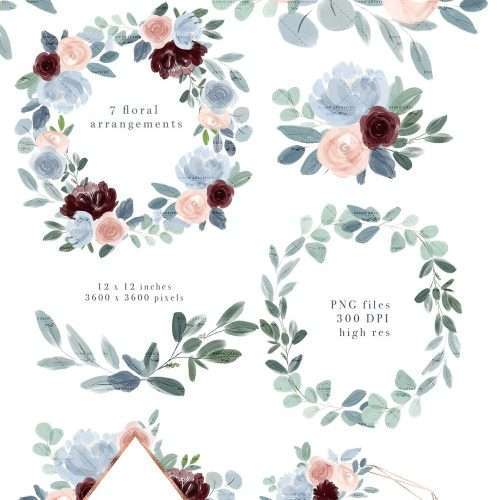 Watercolor Flowers Clipart, Dusty Blue Burgundy Fall Floral Watercolor Graphics for Wedding Invitations Planner Stickers - Commercial Use | NEW Illustrations for fall floral dusty blue Burgundy Blush Pink wedding invitations, save the date, tag label, greeting cards, bridal shower, neutral baby shower, Birthday Party invites, menu, table numbers, posters, flyers, logo blog brand stationery, planner stickers, scrapbook, sublimation prints, nursery wall art. Click to see more>> #watercolorwreath