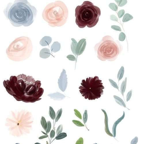 Watercolor Flowers Clipart, Dusty Blue Burgundy Fall Floral Watercolor Graphics for Wedding Invitations Planner Stickers - Commercial Use | NEW Illustrations for fall floral dusty blue Burgundy Blush Pink wedding invitations, save the date, tag label, greeting cards, bridal shower, neutral baby shower, Birthday Party invites, menu, table numbers, posters, flyers, logo blog brand stationery, planner stickers, scrapbook, sublimation prints, nursery wall art. Click to see more>> #digitalscrapbooking