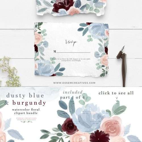 Watercolor Flowers Clipart, Dusty Blue Burgundy Fall Floral Watercolor Graphics for Wedding Invitations Planner Stickers - Commercial Use | NEW Illustrations for fall floral dusty blue Burgundy Blush Pink wedding invitations, save the date, tag label, greeting cards, bridal shower, neutral baby shower, Birthday Party invites, menu, table numbers, posters, flyers, logo blog brand stationery, planner stickers, scrapbook, sublimation prints, nursery wall art. Click to see more>> #watercolorinvitations