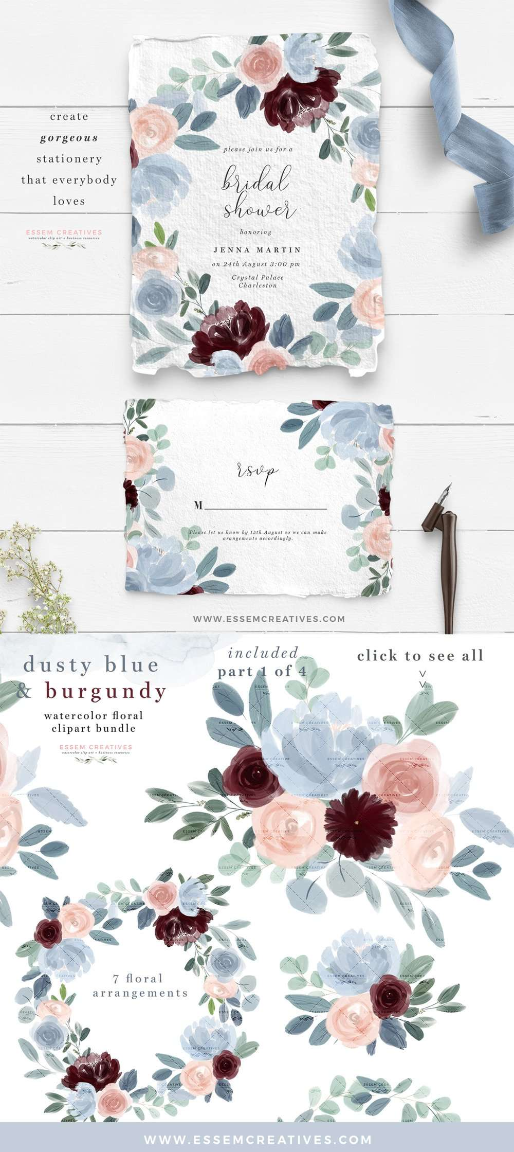 Watercolor Flowers Clipart Dusty Blue Burgundy Fall
