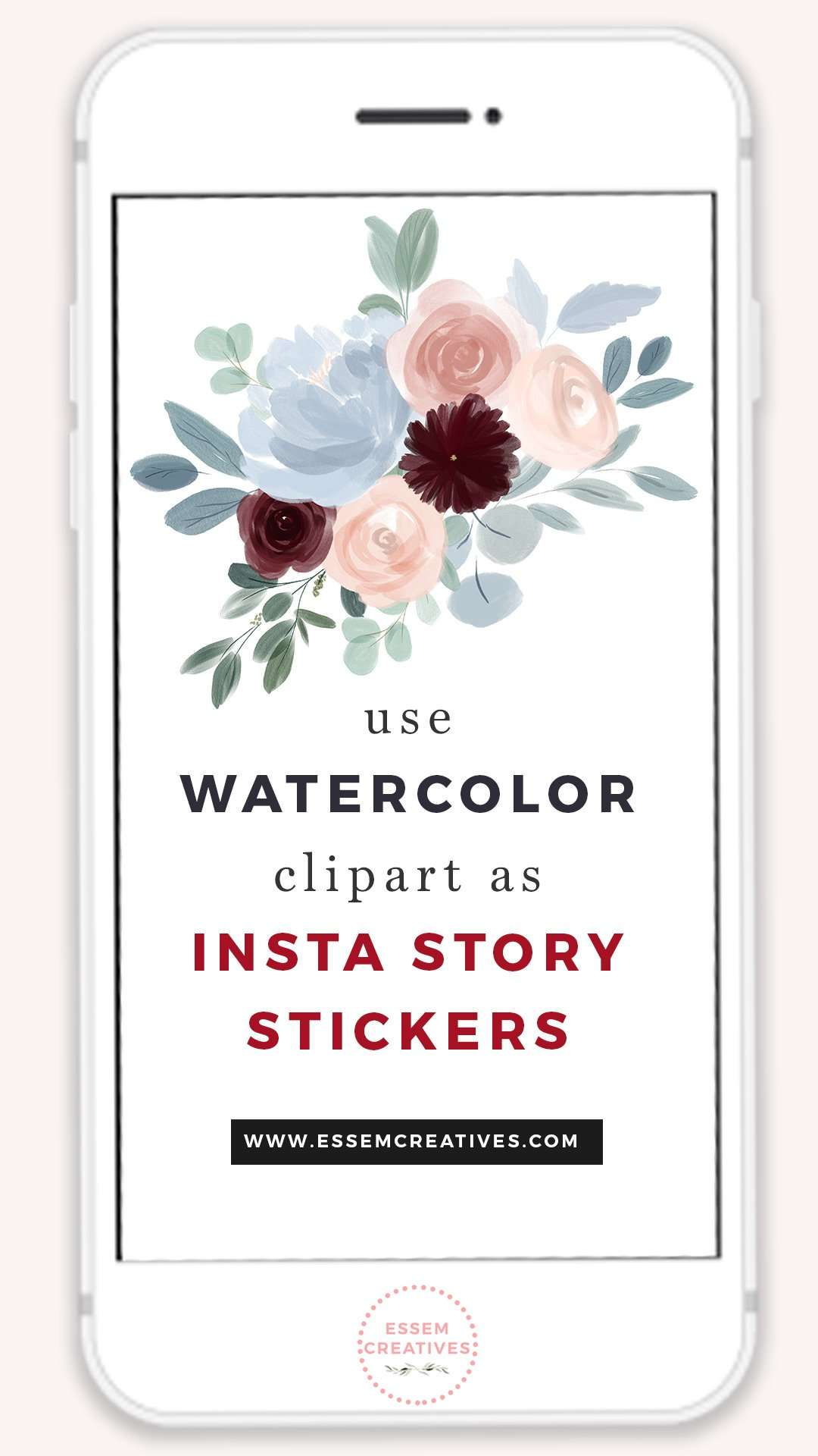How to Use Watercolor Clipart Graphics as Stickers on Instagram Story | Want to quickly & easily add super cute graphics as stickers to decorate your Instagram Stories? I'll tell you how to do that in this video tutorial! Click to see more>>