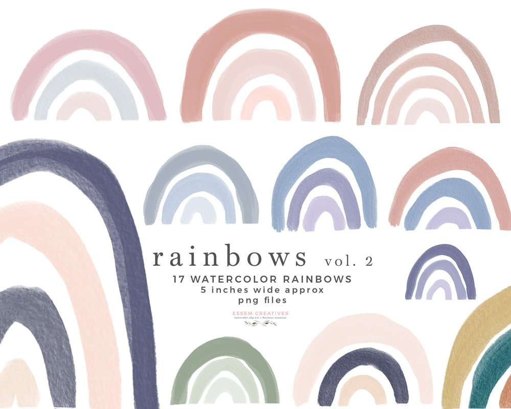 Modern Rainbow Clipart Graphics, Cute Pastel Colorful Rainbow Background for Kids Craft Projects Invitations Scrapbooking | Scrapbooking, Instagram Story Highlight Icons, NEW rainbows for watercolor labels, birthday party invitations, get well soon cards, bullet journal, birthday party, baby shower, bridal shower invitations, planner stickers, planner dashboard decor, wall art prints, sublimation, digital or mixed or paper scrapbooking, branding, shop graphics, watercolor texture #rainbow